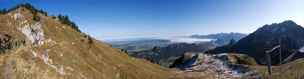 Panorama from Breitberg, German Alps royalty free stock photos