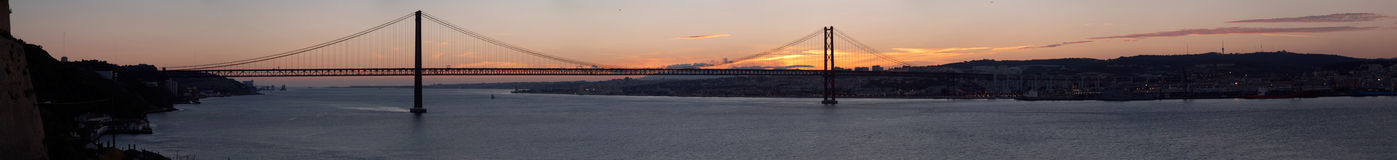 Panorama of bridge 25 de Abril Lisbon, Portugal Royalty Free Stock Photo