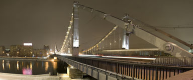 Panorama Bridge in the night city Stock Photo