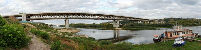 Panorama of the bridge over the Oka river Royalty Free Stock Photo