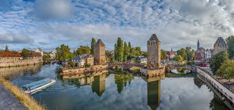 Panorama of  bridge Ponts Couverts, Strasbourg Stock Photos