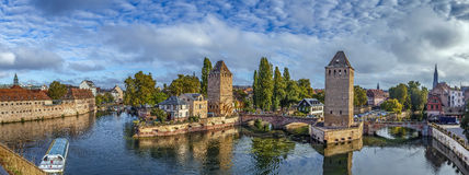Panorama of  bridge Ponts Couverts, Strasbourg Royalty Free Stock Photo