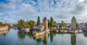 Panorama of  bridge Ponts Couverts, Strasbourg Royalty Free Stock Photos
