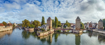 Panorama of  bridge Ponts Couverts, Strasbourg Royalty Free Stock Images