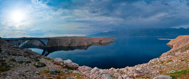 Panorama of the bridge to the Pag island, Croatia Royalty Free Stock Photos