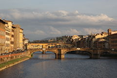Panorama of the bridges over the River Arno, Florence, Italy Royalty Free Stock Photos