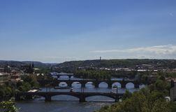 Panorama of the bridges over the Viltava river. A panorama of the bridges going over the Vltava River in Prague, Czech Republic, including famous Charles Bridge Stock Image