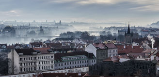 Panorama of bridges on the Vltava. River in Prague Stock Images