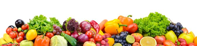 Panorama bright vegetables and fruits isolated on white stock photography