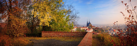 Panorama from Brno castle. Castle in Brno, Czech Republic with Peter's Cathedral in the back in fall/autumn Royalty Free Stock Image