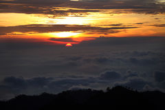 Panorama of Bromo volcano at sunrise, East Java, Indonesia Stock Photo