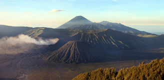 Panorama of Bromo volcano at sunrise, East Java, Indonesia Stock Photography