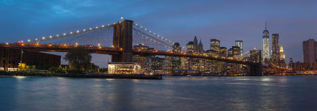 Panorama of Brooklyn Bridge, NYC Stock Photo