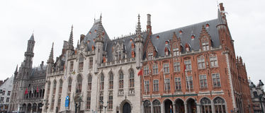 Panorama of the Bruges Town Hall with adjacent buildings Royalty Free Stock Photos