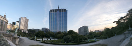 Panorama of Brussels with Ministry of Finance buidling. Royalty Free Stock Images