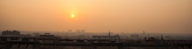 Panorama of Brussels on sunset Royalty Free Stock Photography