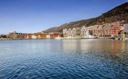Panorama of Bryggen. Bryggen in Bergen, Norway. Bryggen is both a national and European landmark. Popular among foreign tourists Royalty Free Stock Photo