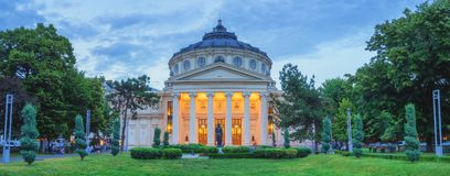 Panorama of Bucharest Atheneum, Romania stock photo