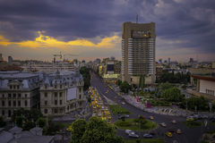 Panorama from Bucharest University Square stock photography