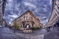 Panorama- Bucharests gamla stad - Arkivfoto
