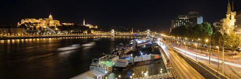 Panorama of Buda Castle and Danube, Budapest, Hungary. Panorama night shot of the Danube river and the Buda Castlel in Budapest, Hungary stock photo