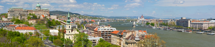 Panorama of Budapest in a cloudy morning Royalty Free Stock Photos