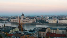 Panorama of Budapest with the Danube and the Parliament building, Hungary. Aerial view of Budapest. Hungary. Time-lapse.  stock video