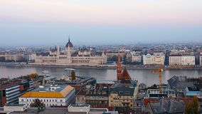 Panorama of Budapest with the Danube and the Parliament building, Hungary. Aerial view of Budapest. Hungary. Time-lapse.  stock video footage