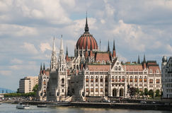 Panorama of Budapest with the Danube and the Parliament, Hungary. Stock Photos