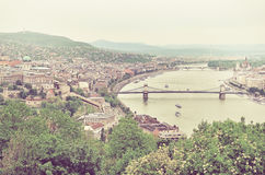 Panorama of of Budapest and the Danube River as Seen from Geller. T Hill Lookout Pointi Budapest, Hungary Royalty Free Stock Images