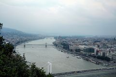 Panorama of Budapest with the Hungarian Parliament seen from the Budapest castle, the Danube river being in front stock photos