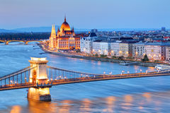 Panorama of Budapest, Hungary, with the Chain Bridge and the Par Royalty Free Stock Photo