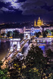 Panorama of Budapest, Hungary, with the Chain Bridge and the Par Royalty Free Stock Photography