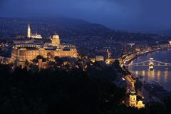 Panorama Budapest, Hungary, from fortress Citadel Stock Photography