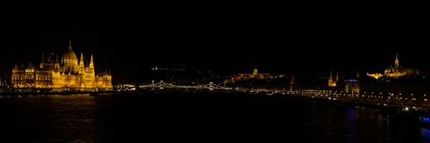 Panorama of Budapest, Hungary at night stock images