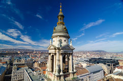 Panorama of Budapest, Hungary taken from the tower of Saint Istvan cathedral Royalty Free Stock Photo