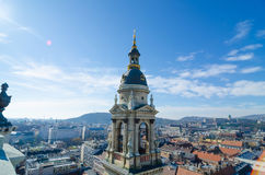 Panorama of Budapest, Hungary taken from the tower of Saint Istvan cathedral Stock Photos
