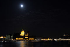 Panorama of Budapest at night Stock Image