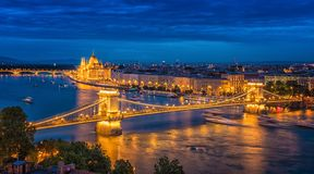 Panorama of Budapest at night. Hungarian landmarks. Chain Bridge, Parliament and Danube river in Budapest stock images