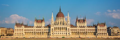Panorama of Budapest parliament Hungary. Panorama of Budapest parliament, Hungary stock images