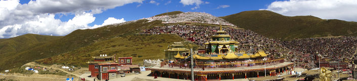 Panorama on Buddhist Forbidden City of Serta, Tibet Stock Photos