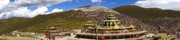 Panorama on Buddhist Forbidden City of Serta, Tibet. Panorama of Forbidden City and Temple of the Buddhist town of Serta in Eastern Tibet Stock Photos