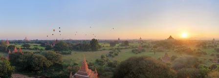 Panorama of Buddhist Temples in Bagan, Myanmar Stock Photo