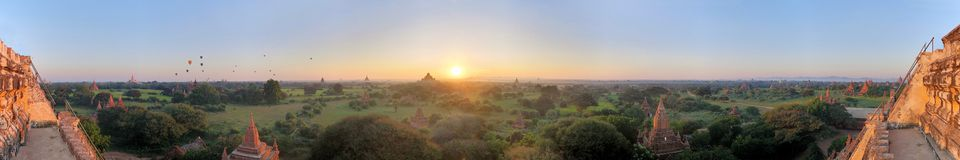 Panorama of Buddhist Temples in Bagan, Myanmar Stock Photos