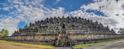 Panorama Buddist temple Borobudur complex in Yogjakarta in Java Stock Photo