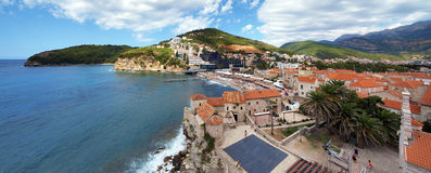 Panorama of the Budva, Montenegro Royalty Free Stock Photography