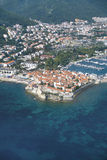 Panorama of Budva. Old town and city port Stock Image