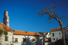 Panorama of Budva, streets Old town. Montenegro Royalty Free Stock Photos