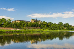 Panorama of Bug River and Castle Hill. In Drohiczyn, Poland Royalty Free Stock Images