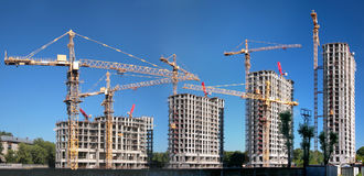 Panorama of building of an housing estate Stock Photography